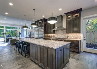 Modern kitchen with brown kitchen cabinets