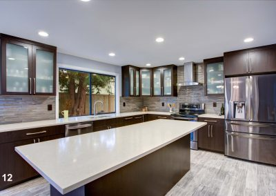 Updated contemporary kitchen room interior in white and dark ton